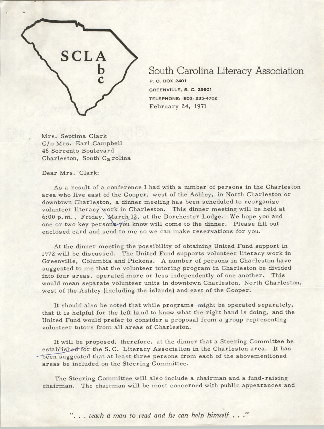 Letter from Ben Bagwell to Septima P. Clark, February 24, 1971