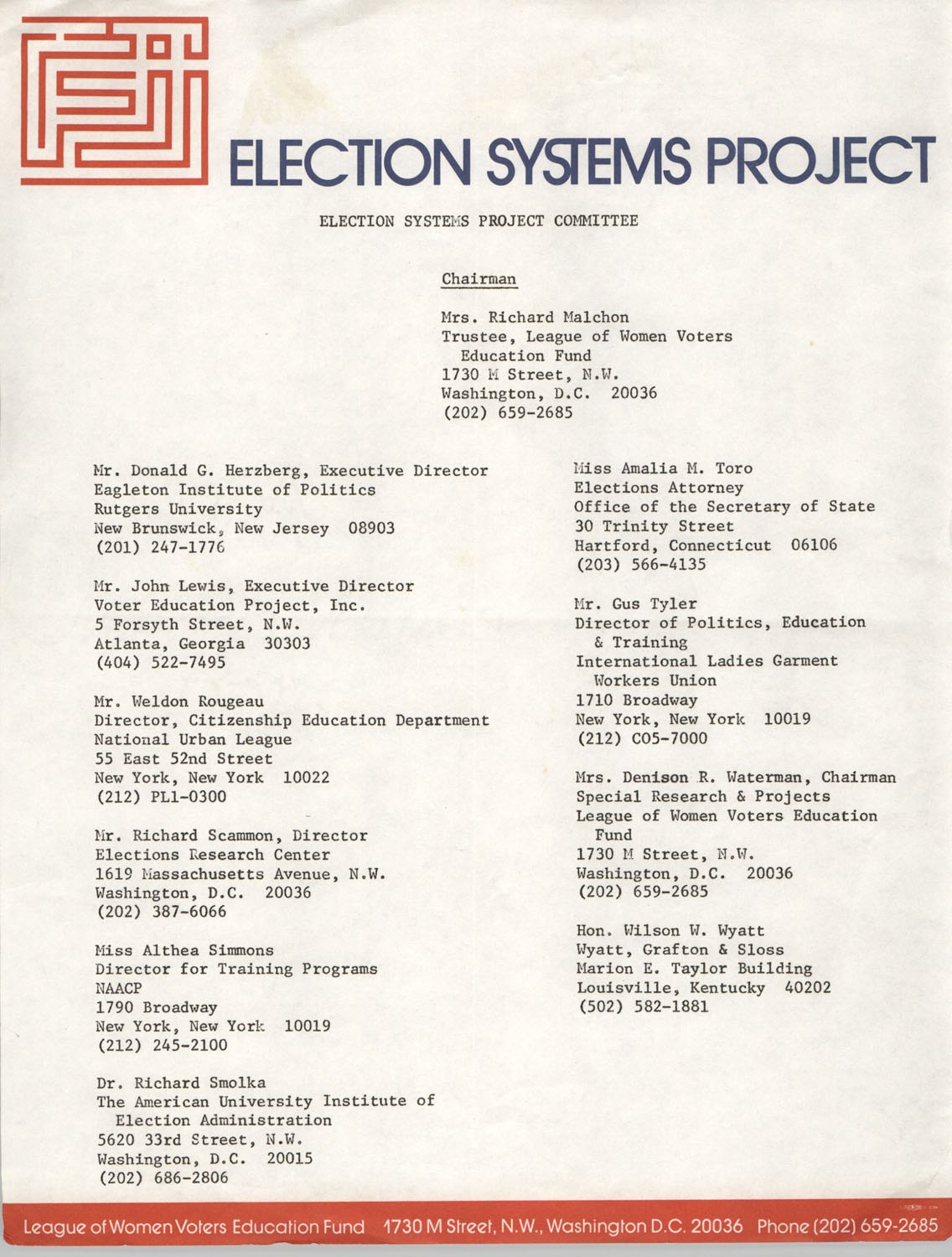 Election Systems Project Committee Directory Sheet and Sign-Up Sheet