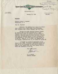 Santee-Cooper: Letter from Robert M. Cooper (General Manager of the South Carolina Public Service Authority) to Senator Burnet R. Maybank, January 22, 1942