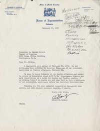 Correspondence between Robert E. McNair, Representative L. Mendel Rivers, Representative Emanuel Celler, and South Carolina Governor George Bell Timmerman, Jr., February 1957
