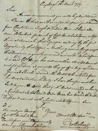 Letter from Colonel Owen Roberts to John F. Grimke, March 10, 1779