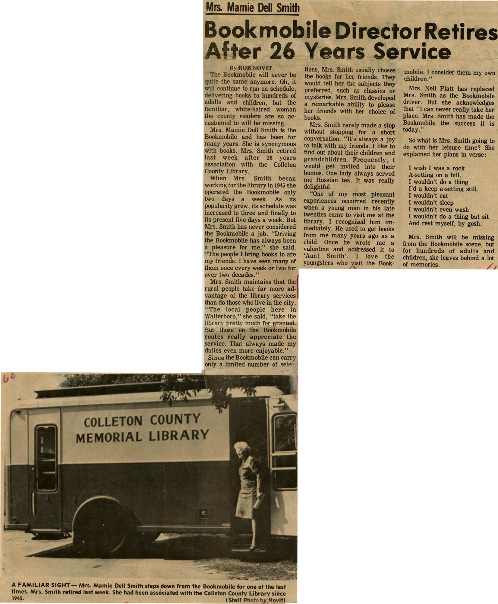 Bookmobile Director Retires After 26 Years of Service