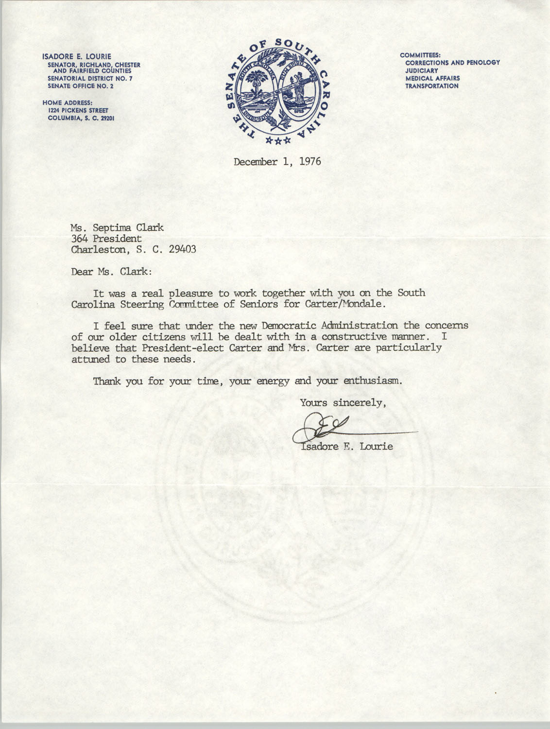 Letter from Isadore E. Lourie to Septima P. Clark, December 1, 1976