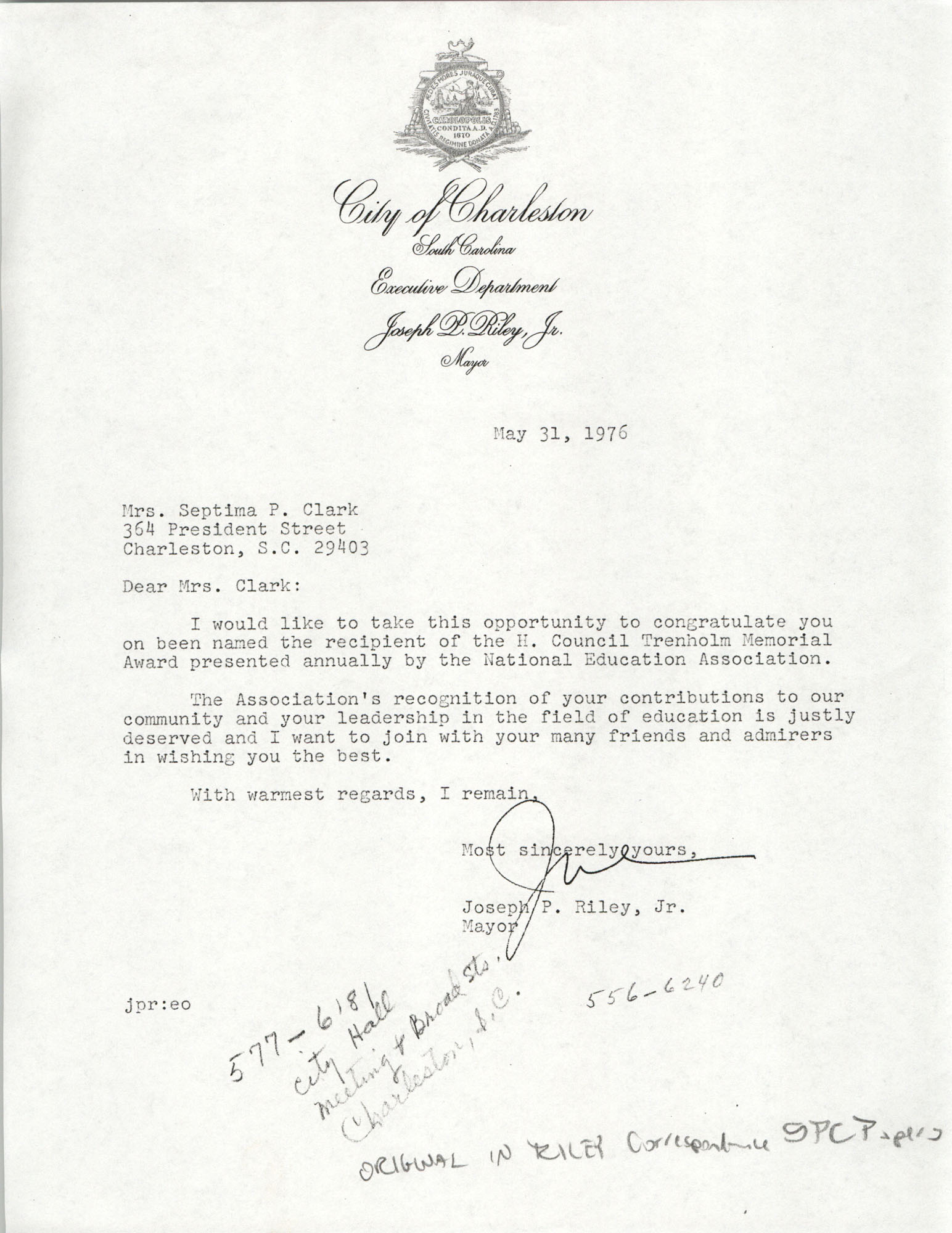 Letter from City of Charleston Mayor, Joseph P. Riley, Jr., to Septima P. Clark, May 31, 1976