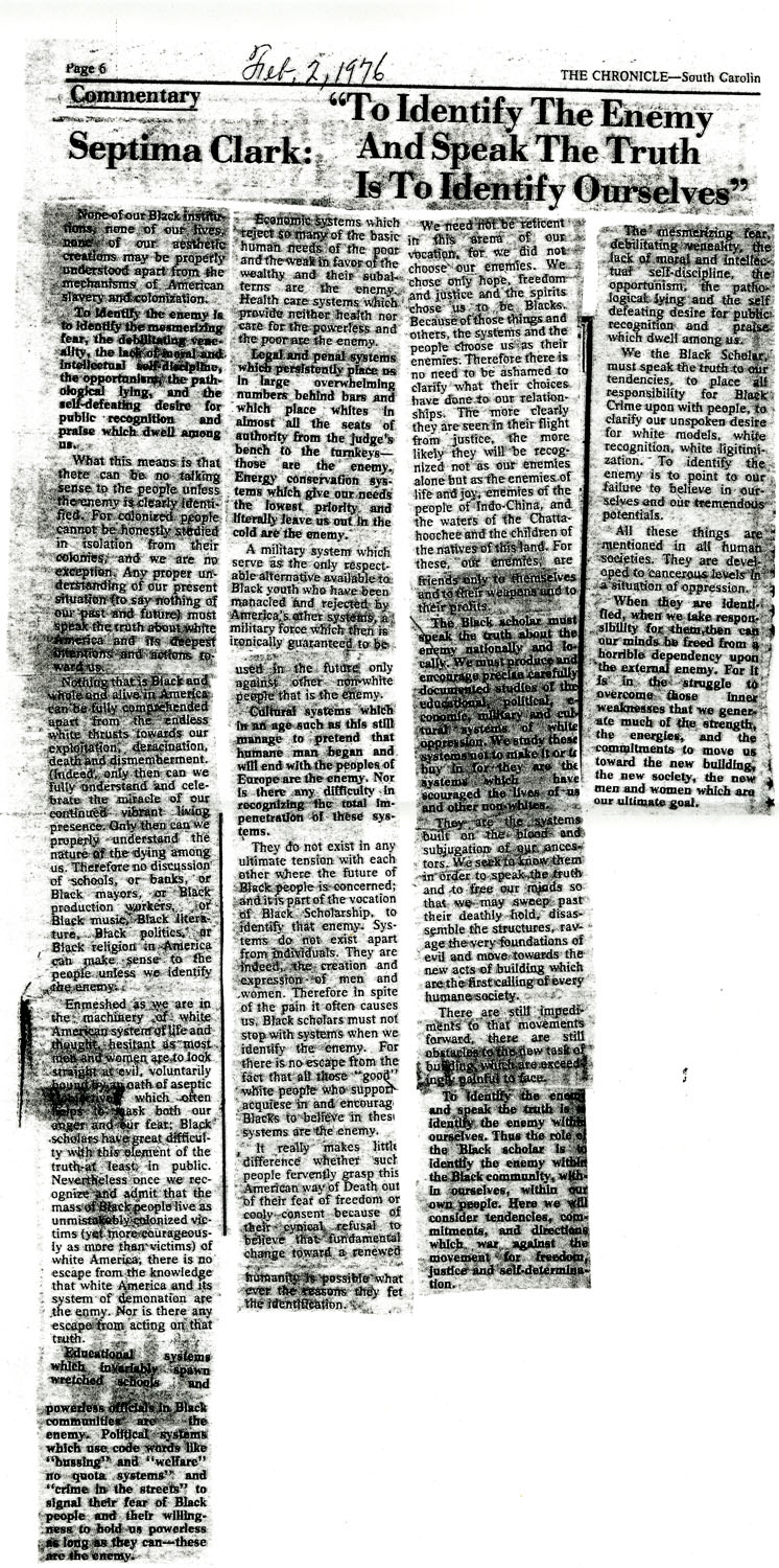 Newspaper Article, February 2, 1976
