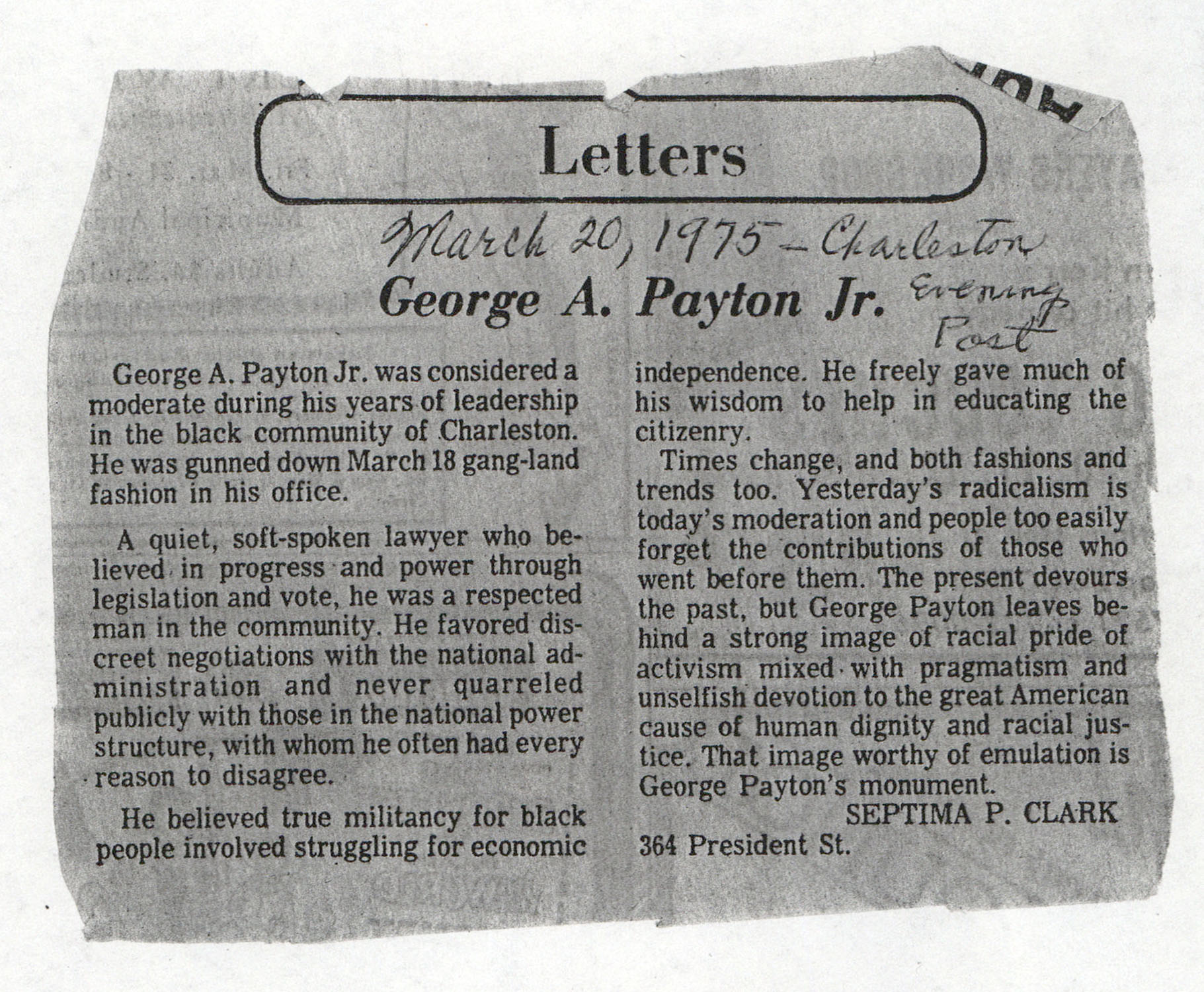 Newspaper Article, March 20, 1975