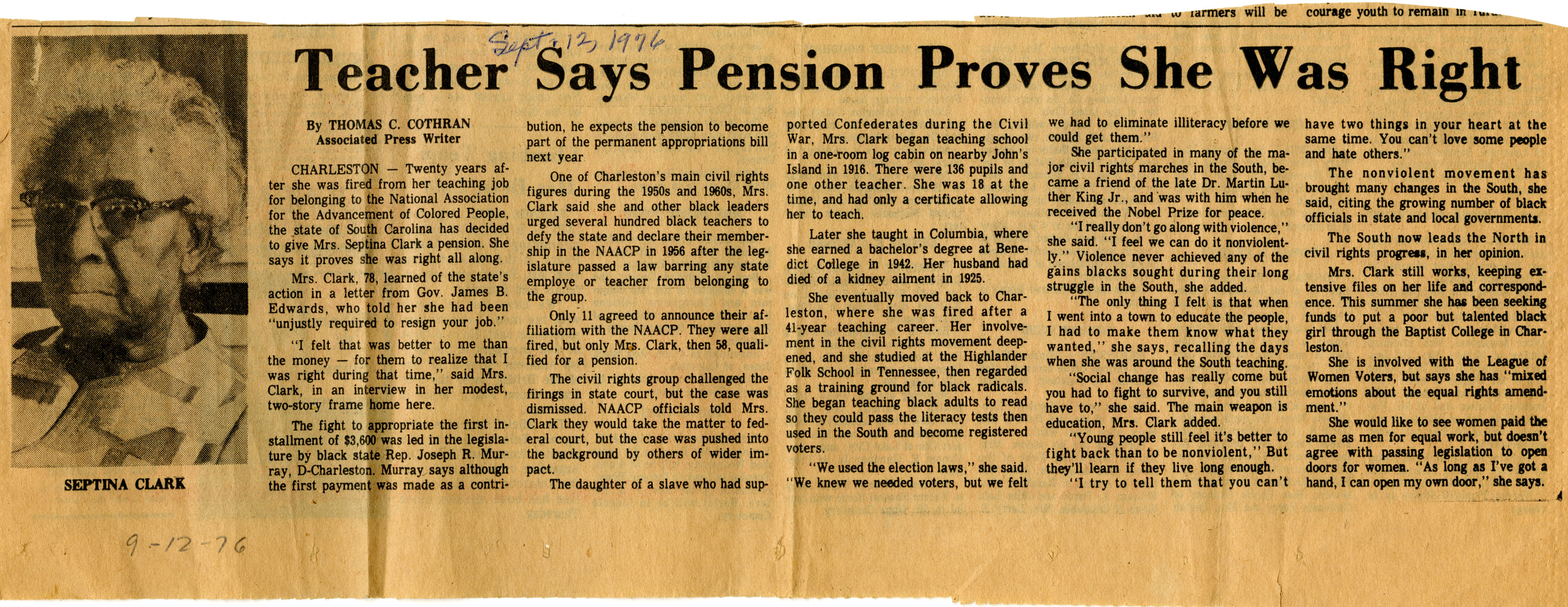 Newspaper Article, September 12, 1976