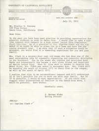 Letter from J. Herman Blake to Stanley D. Stevens, July 13, 1972