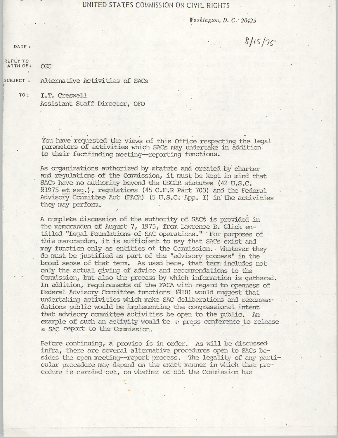 Memorandum from Lawrence B. Glick to I. T. Creswell, August, 15, 1975