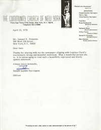 Letter from Donald Szantho Harrington to Samuel R. Poinsette, April 13, 1976