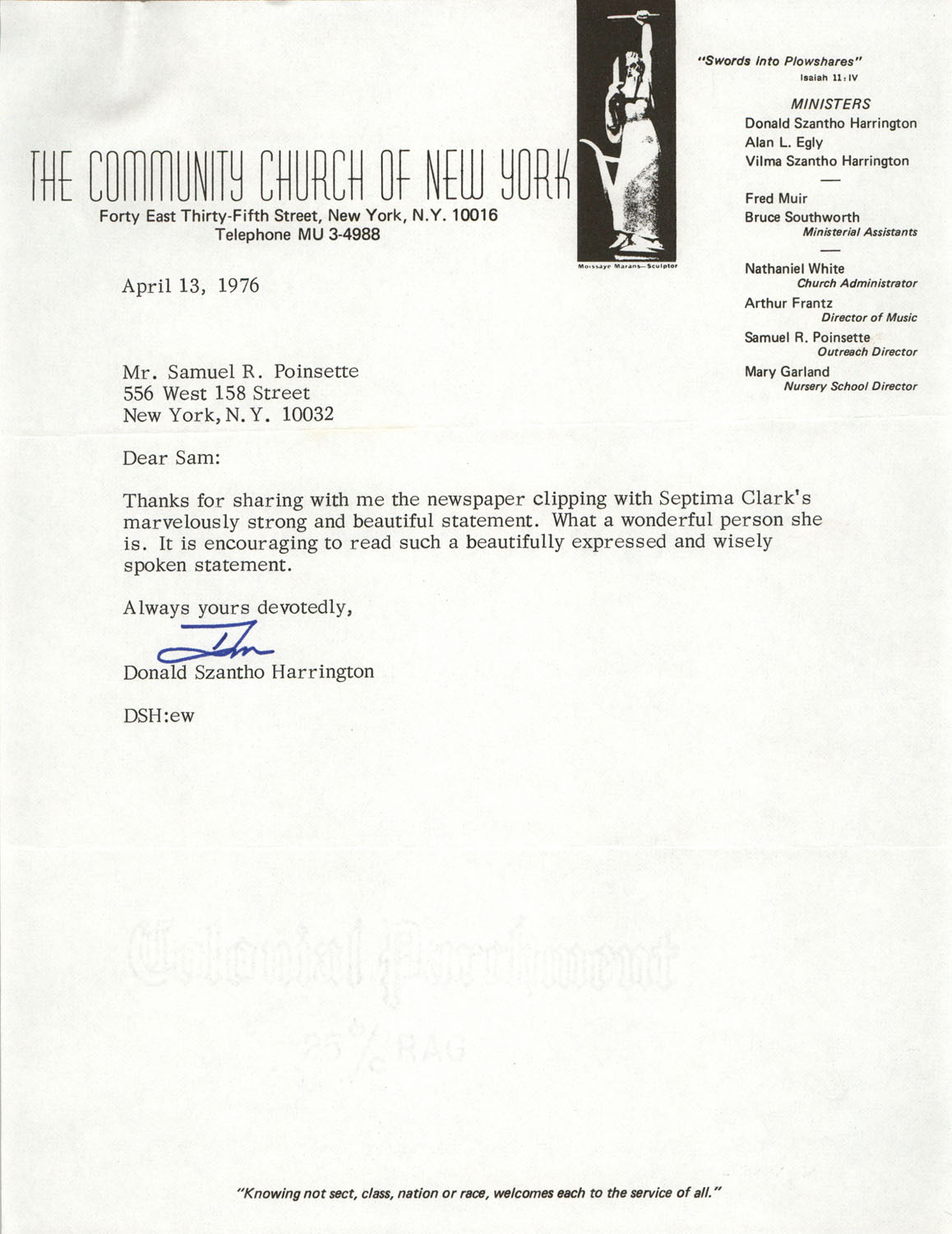 Letter from Donald Szantho Harrington to Samuel R. Poinsette, April 13, 1976