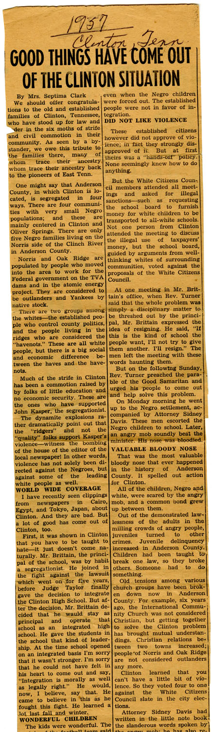 Newspaper Article, 1957