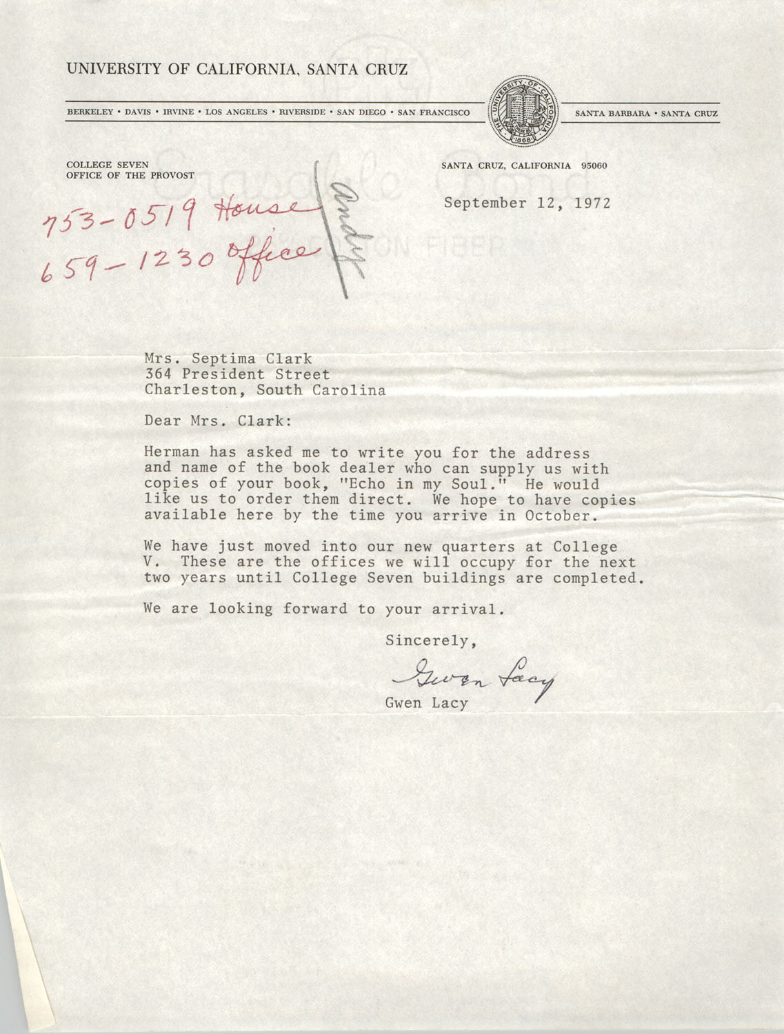 Letter from Gwen Lacy to Septima P. Clark, September 12, 1972