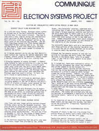 Communique, Election Systems Project, January 1973