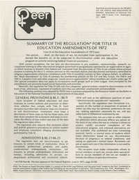 PEER, Summary of the Regulation for Title IX Education Amendments of 1972