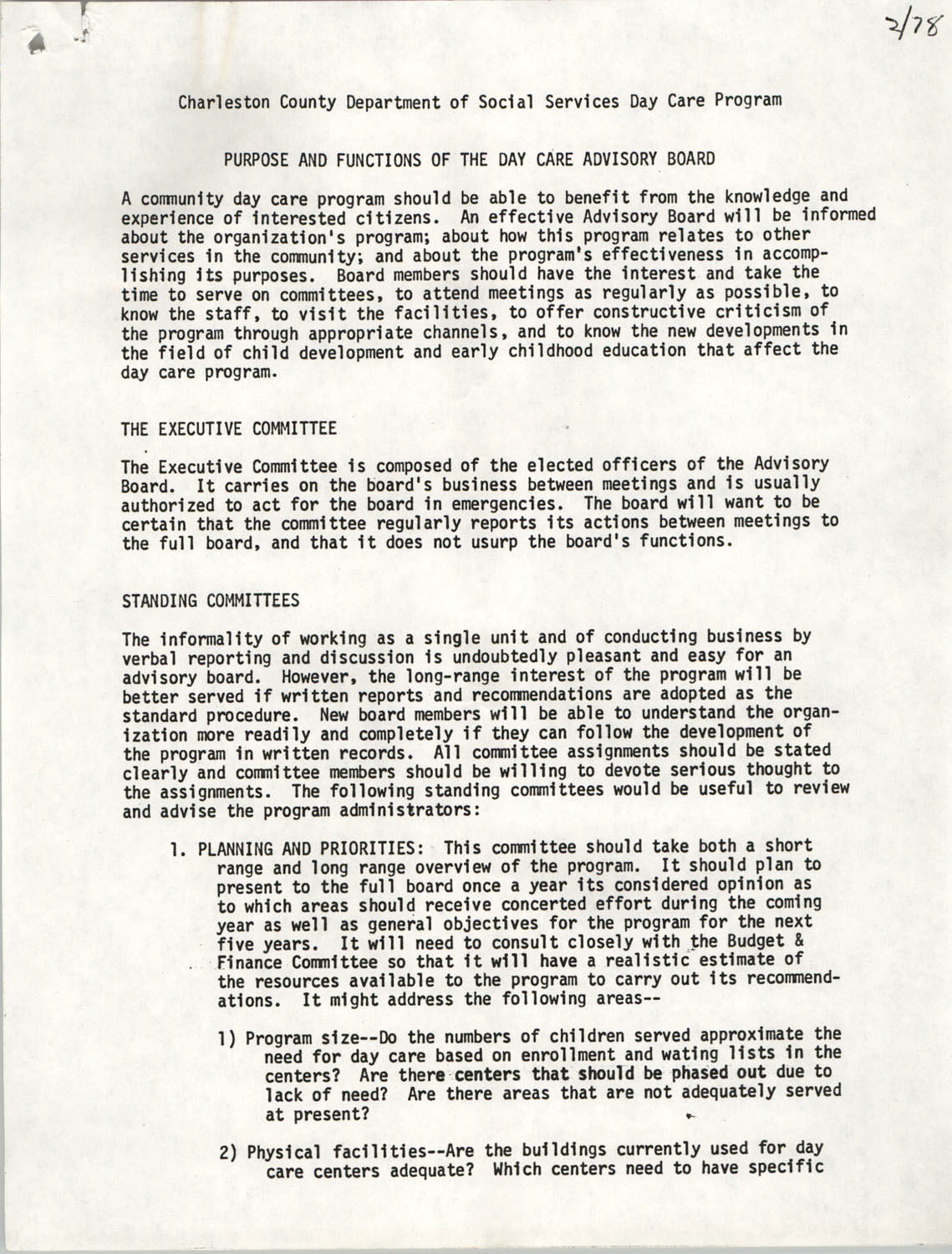Purpose and Functions of the Day Care Advisory Board, Charleston County Department of Social Services Day Care Program, February 1978