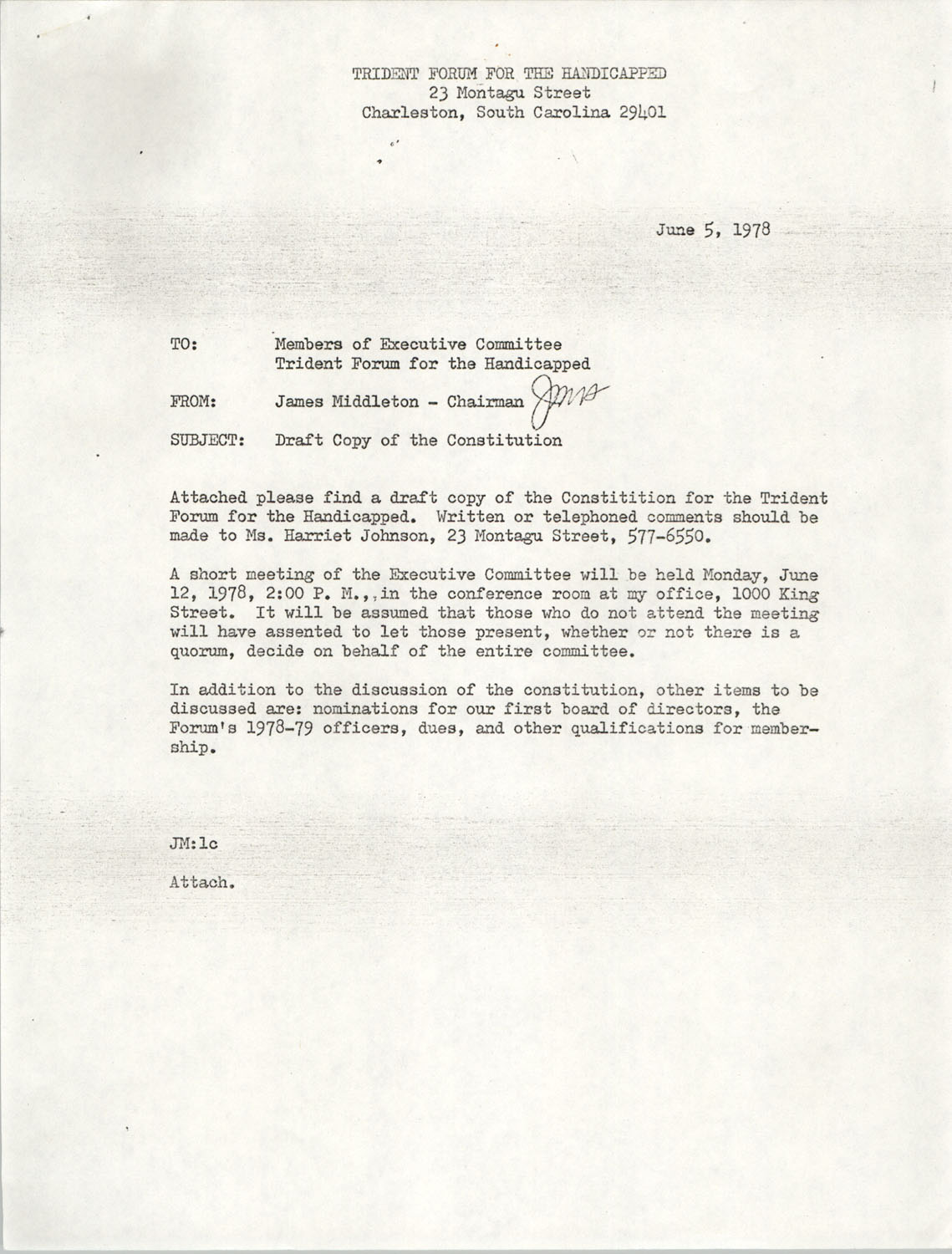 Memorandum from James Middleton to Members of Executive Committee; Trident Forum for the Handicapped Constitution, June 5, 1978