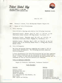 Memorandum from Dolores S. Greene, Trident United Way, July 19, 1977