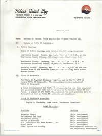 Memorandum from Dolores S. Greene, Trident United Way, July 19, 1977