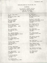 Committee Members List, Charleston Committee For Day Care, September 9, 1975