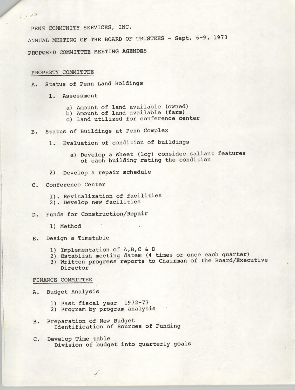 Minutes, Penn Community Services, September 6-9, 1973