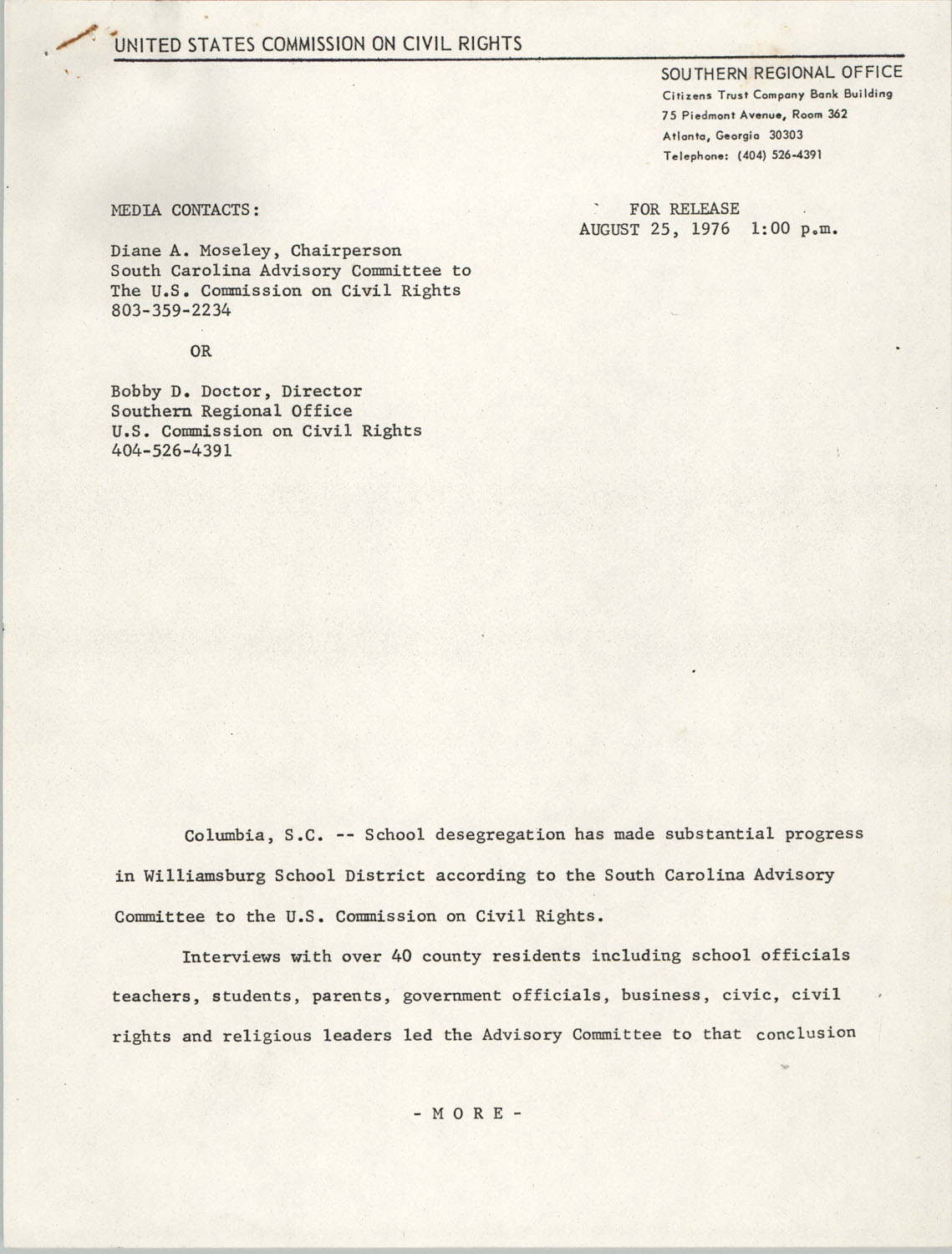 Press Release Statement, United States Commission on Civil Rights, August 25, 1976