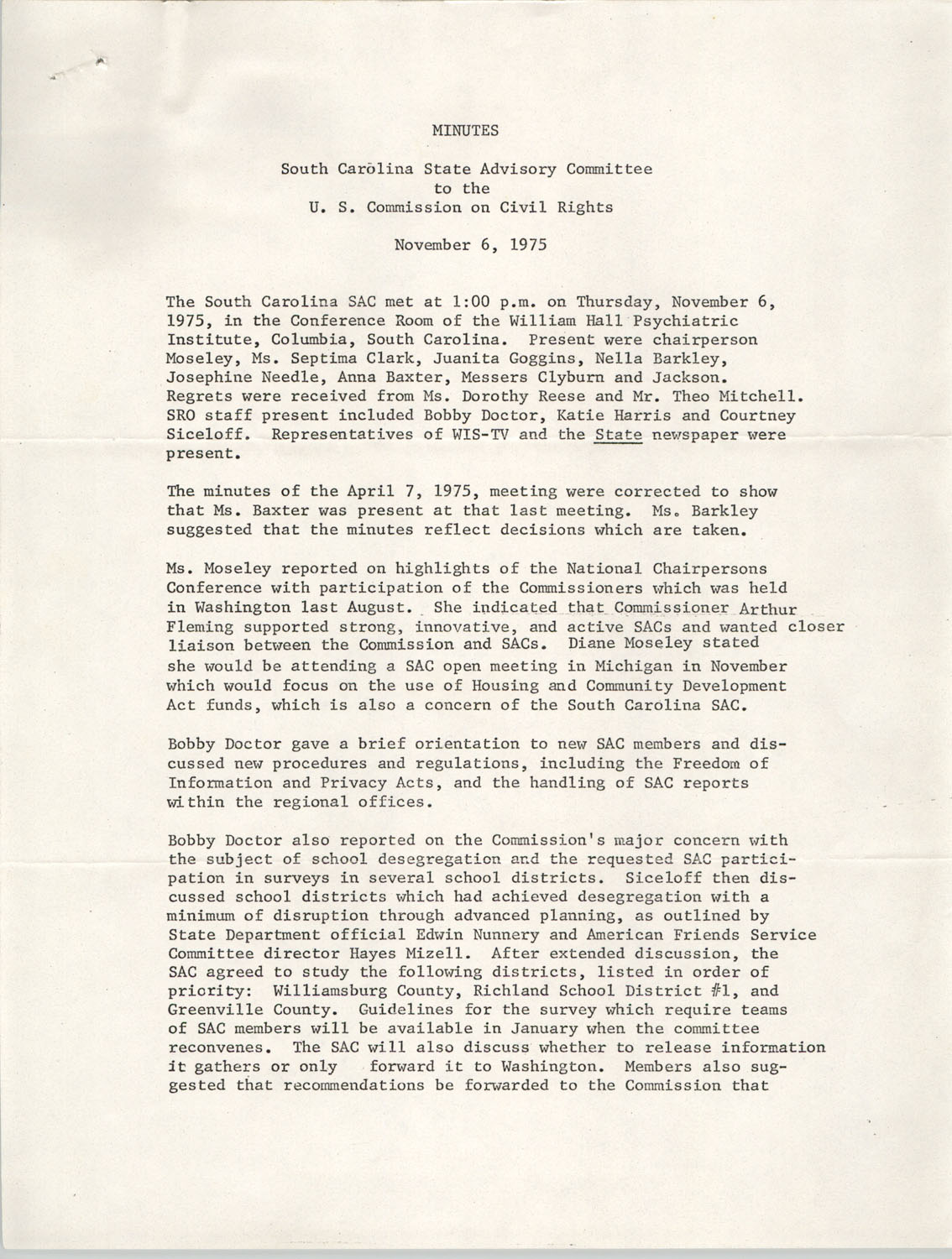 Minutes, South Carolina State Advisory to the U.S. Commission on Civil Rights, November 6, 1975
