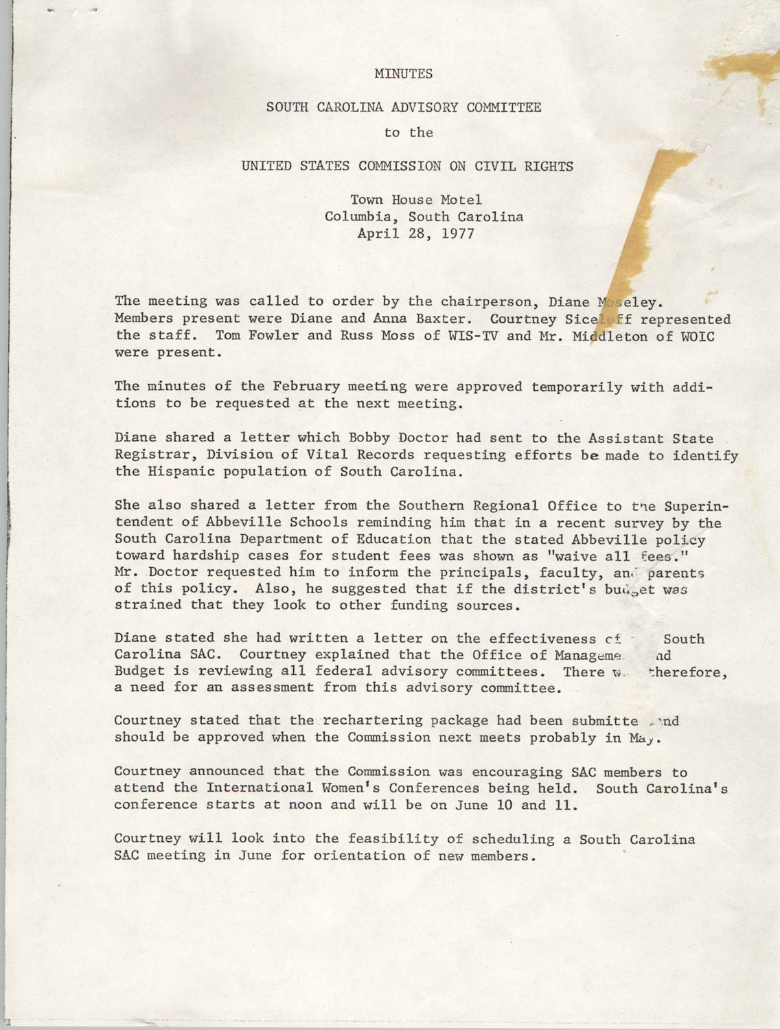 Minutes, South Carolina State Advisory to the U.S. Commission on Civil Rights, April 28, 1977