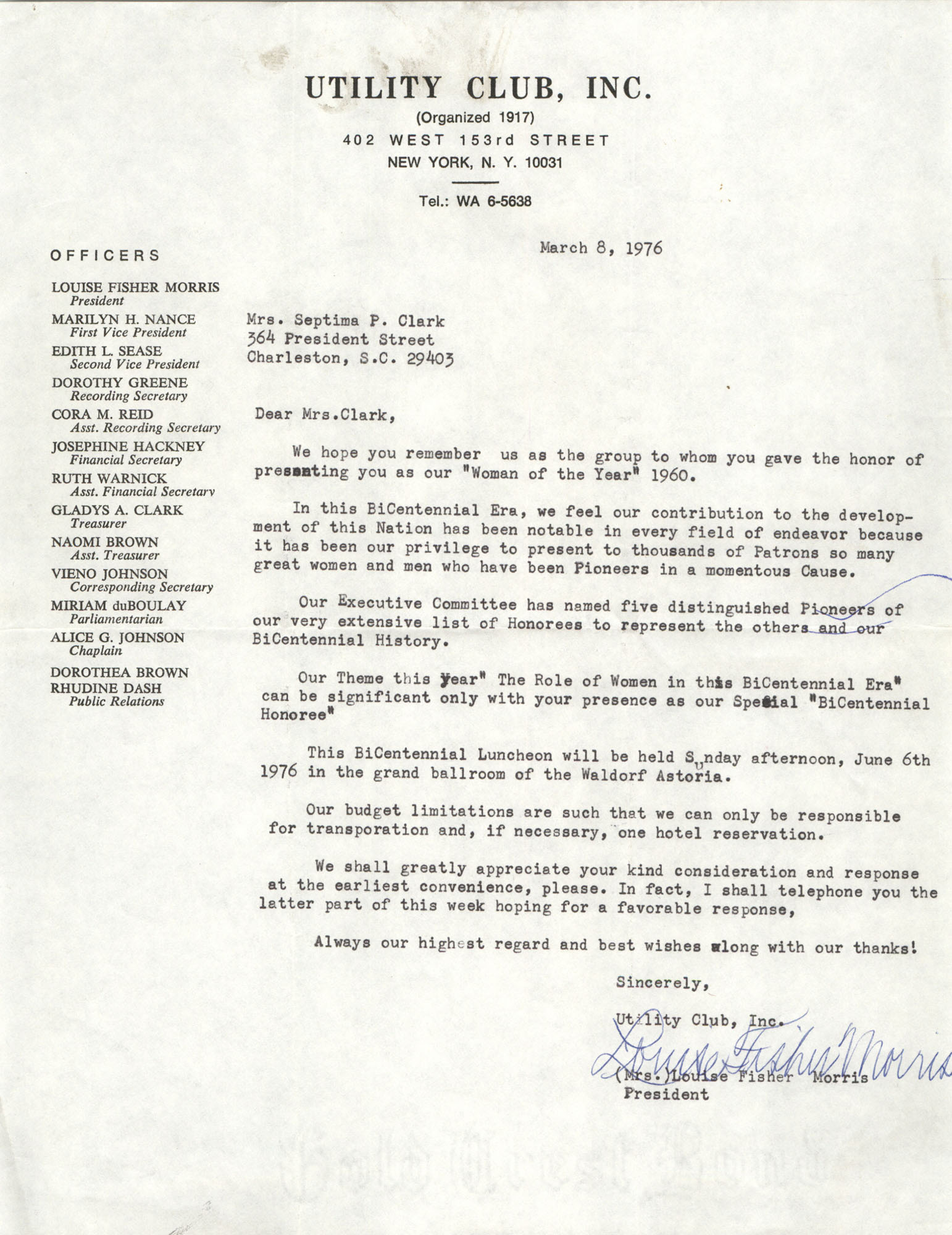 Letter from Utility Club, Inc. to Septima P. Clark, March 8, 1976