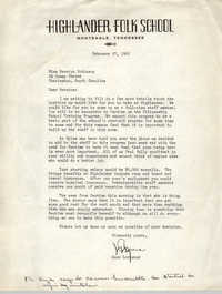 Letter from Anne Lockwood to Bernice Robinson, February 27, 1961