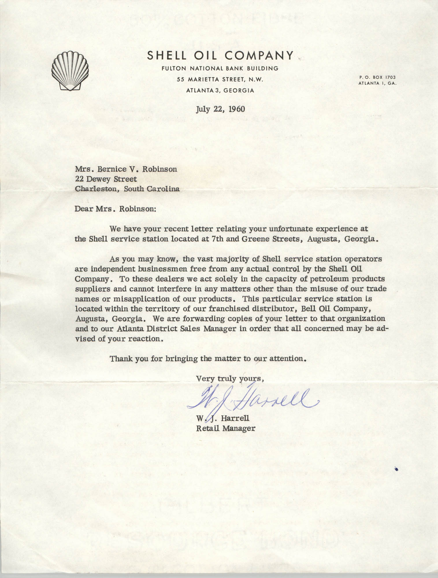 Letter from W. J. Harrell to Bernice V. Robinson, July 22, 1960