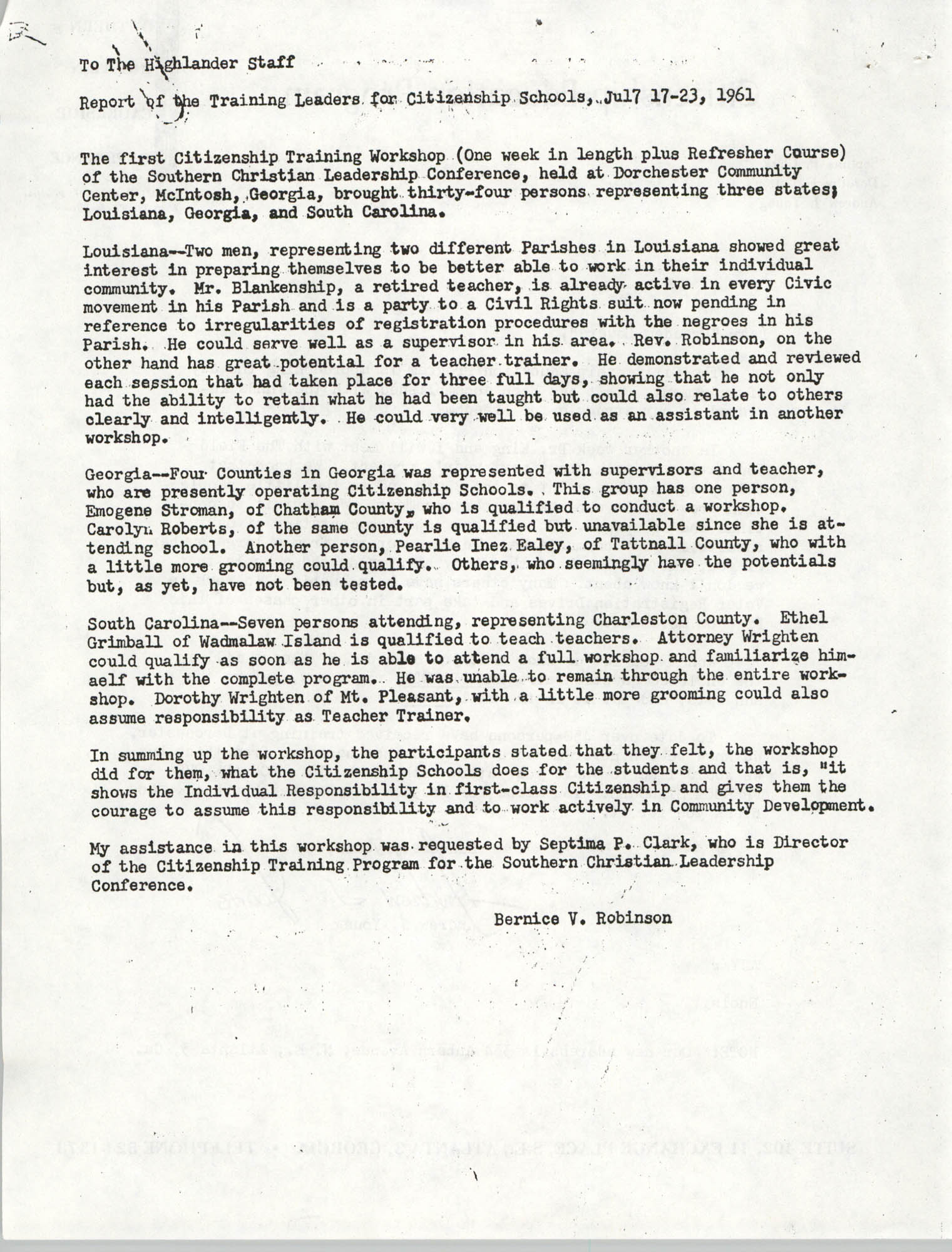 Letter from Bernice V. Robinson to The Highlander Staff, 1961