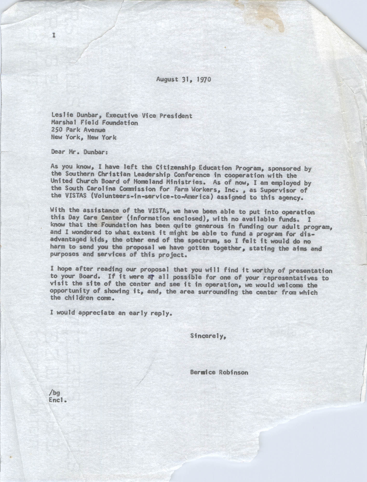 Letter from Bernice Robinson to Leslie Dunbar, August 31, 1970