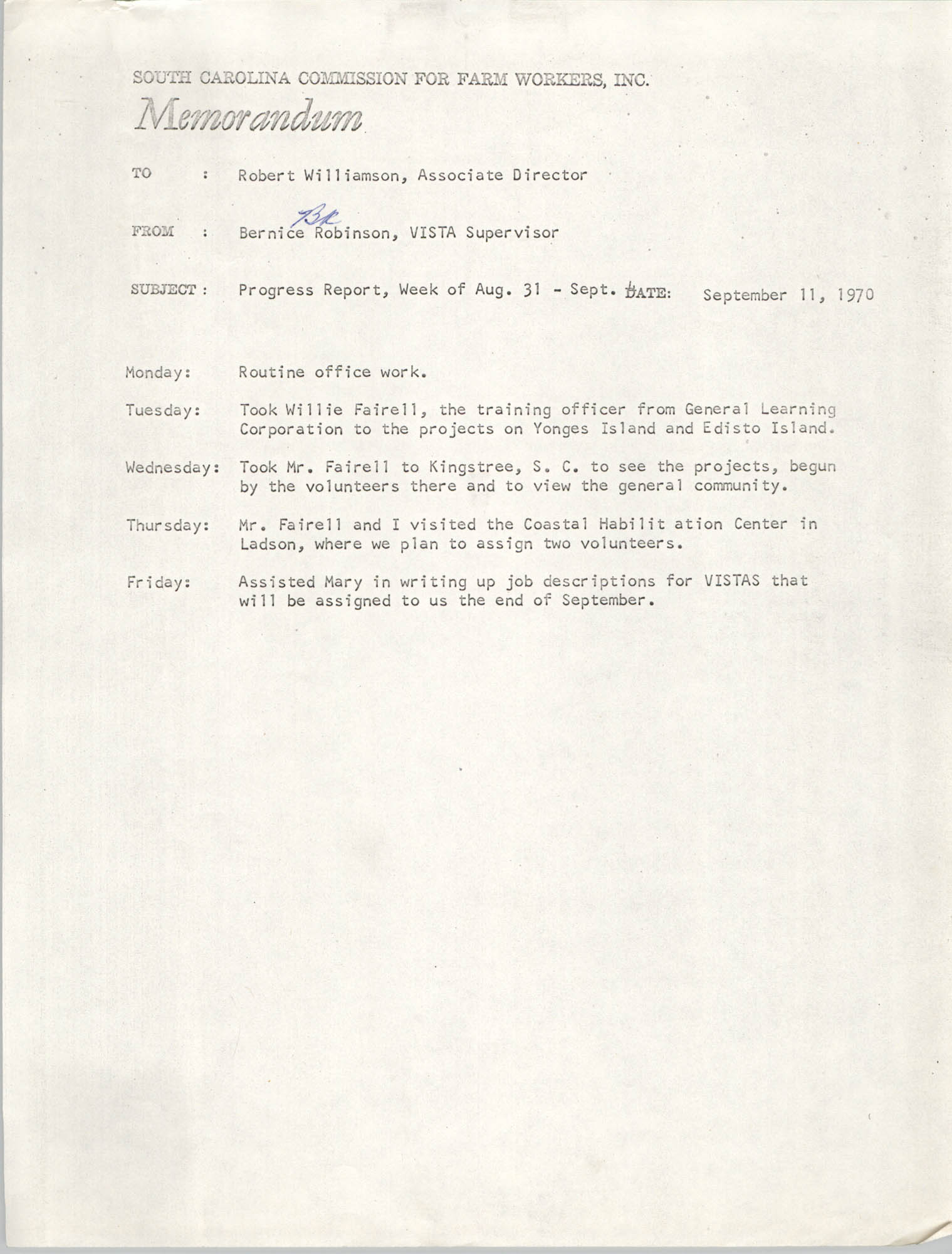 Memorandum from Bernice V. Robinson to Robert Williamson, September 11, 1970