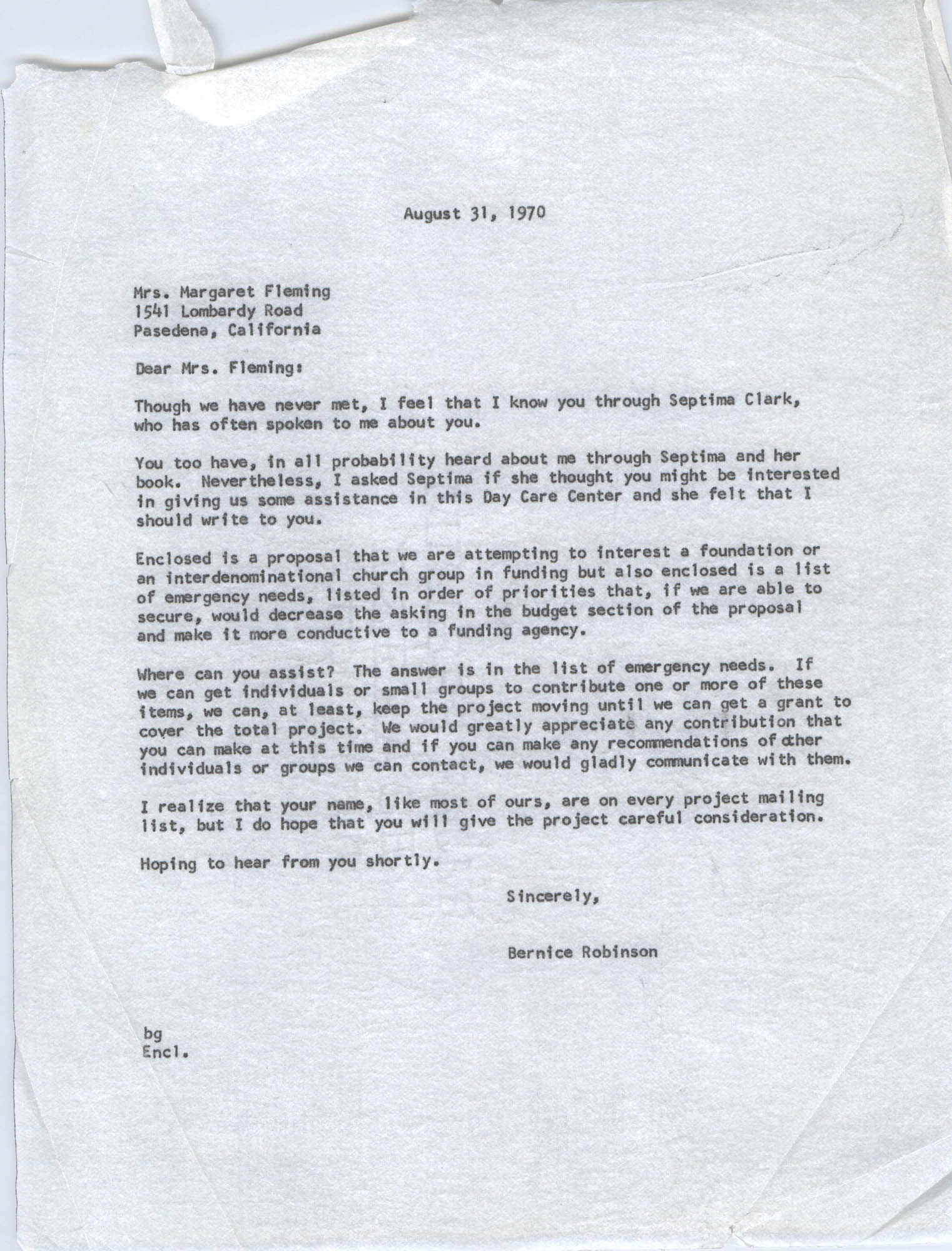 Letter from Bernice Robinson to Margaret Fleming, August 31, 1970
