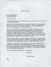 Letter from Bernice Robinson to Margaret Lamont, August 31, 1970