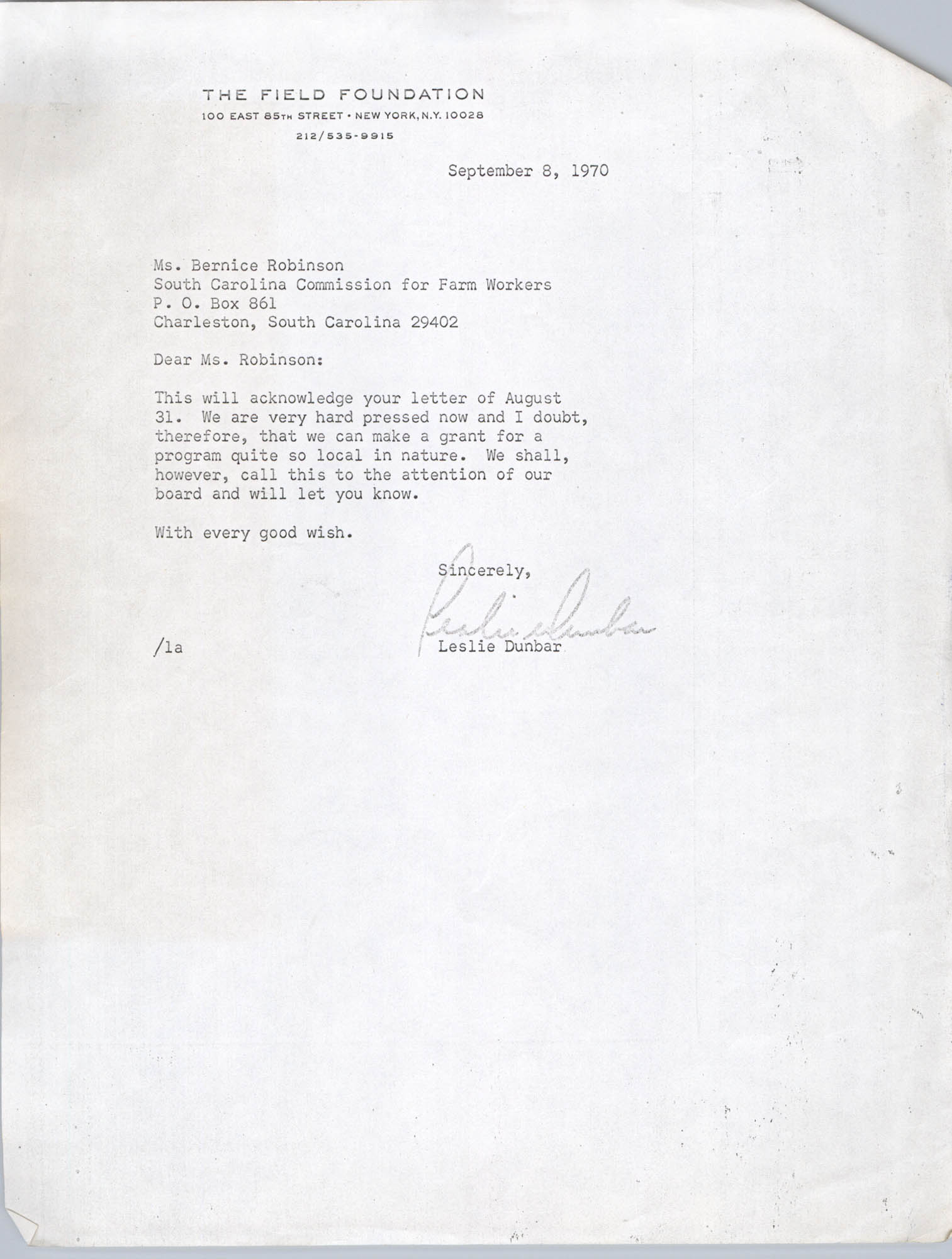 Letter from Leslie Dunbar to Bernice Robinson, September 8, 1970