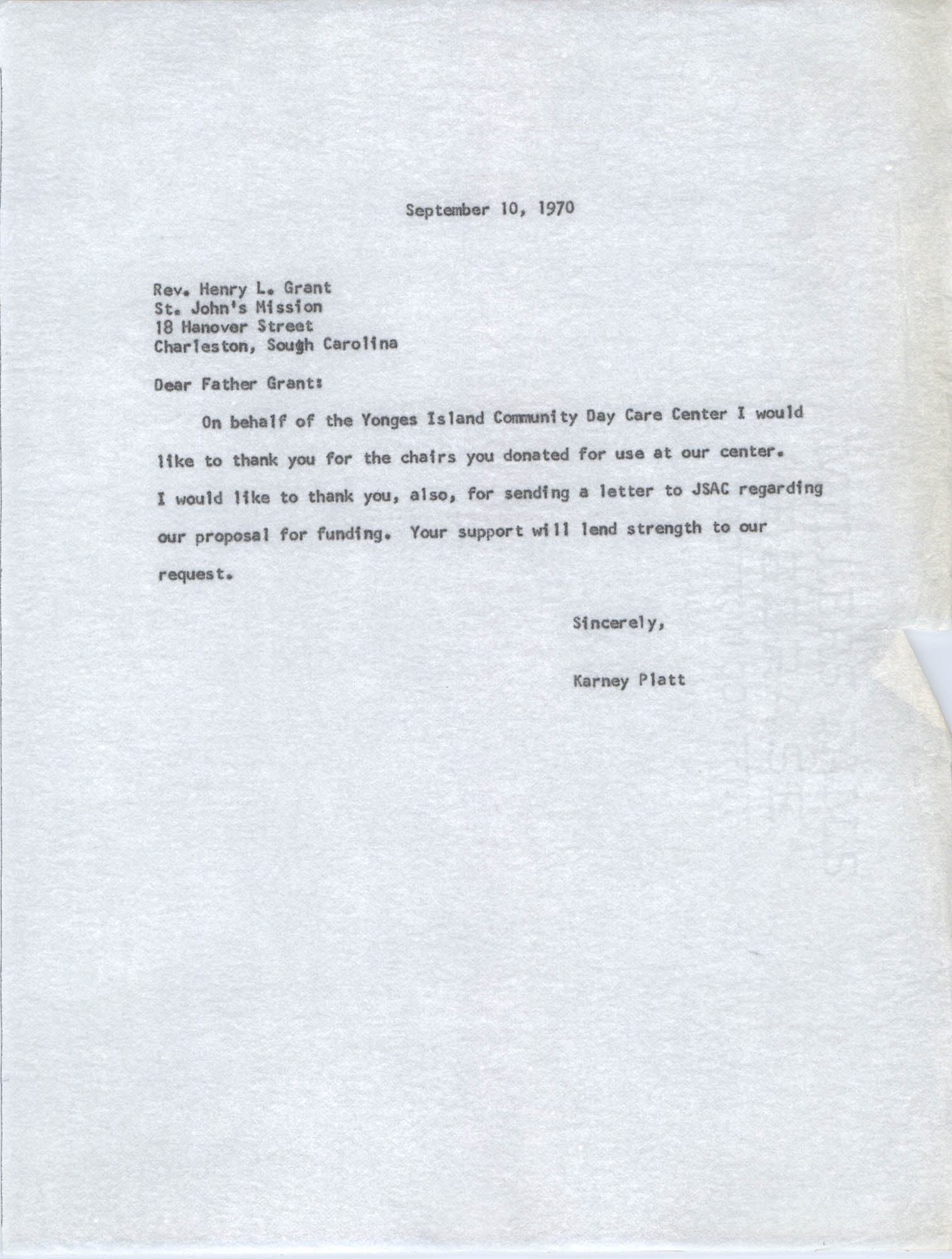 Letter from Karney Platt to Henry L. Grant, September 8, 1970