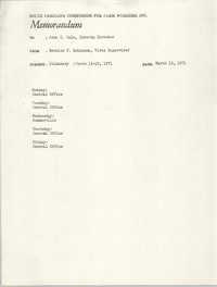 Memorandum from Bernice V. Robinson to John Cole, March 15, 1971