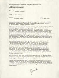 Memorandum from Gail MacRae to Bernice Robinson, April 1971