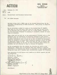 Memorandum from Charles J. Baron and Frank E. Williams to All VISTA Sponsors, February 10, 1972