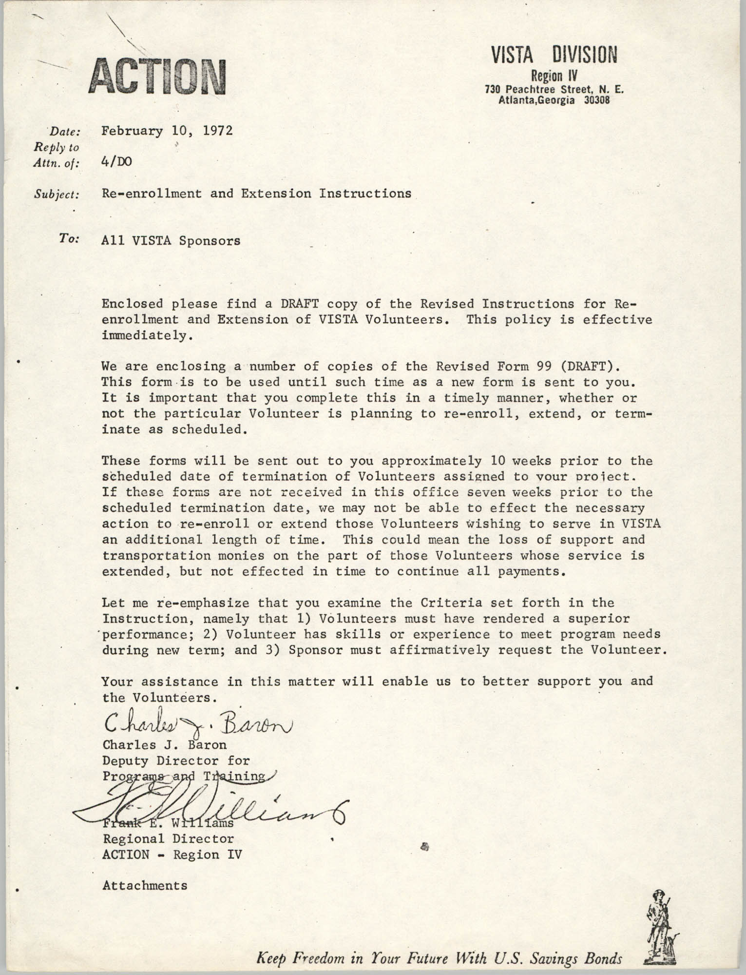 Memorandum from Charles J. Baron and Frank E. Williams to All VISTA Sponsors, February 10, 1972