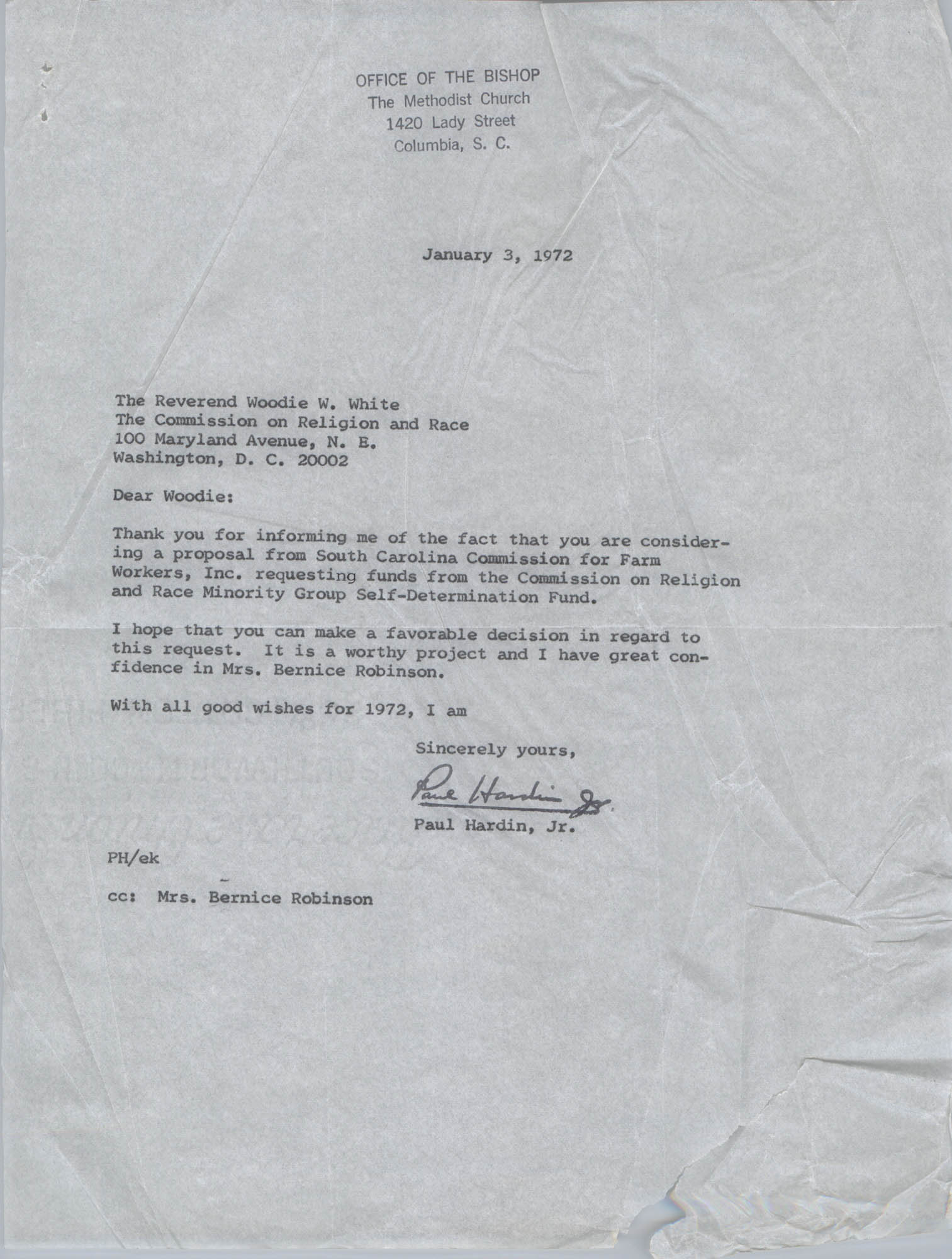 Letter from Paul Hardin, Jr. to Woodie W. White, January 3, 1972