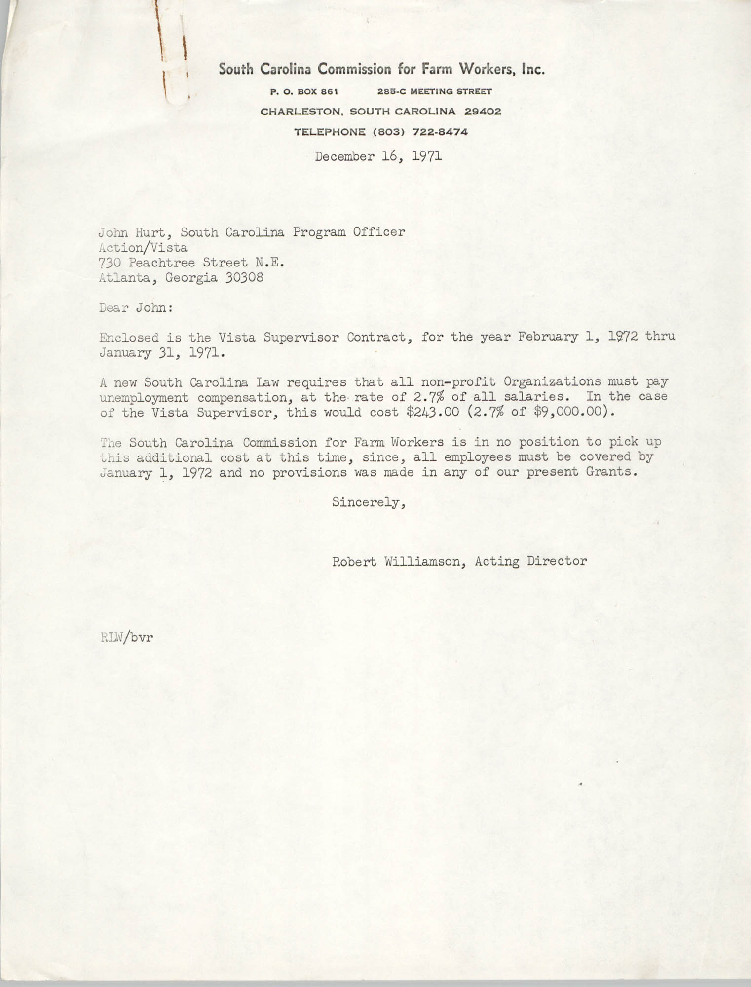 Letter from Robert Williamson to John Hurt, December 16, 1971