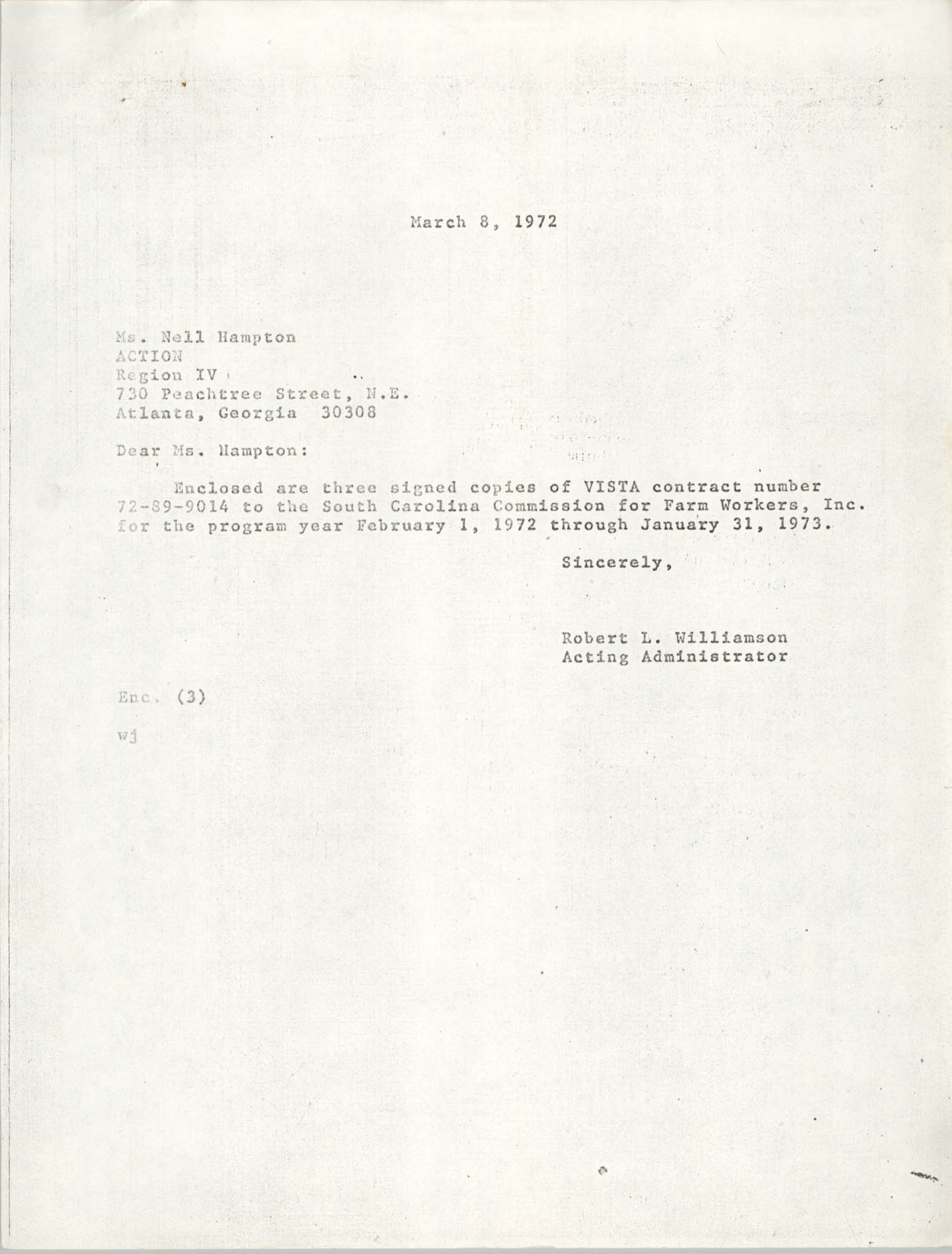 Letter from Robert L. Williamson to Nell Hampton, March 8, 1972