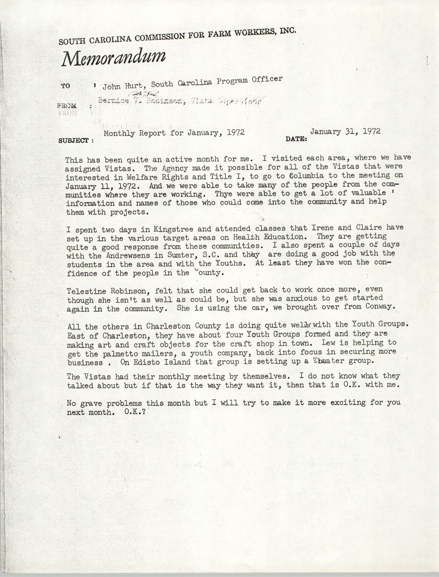Memorandum from Bernice V. Robinson to John Hurt, January 1972