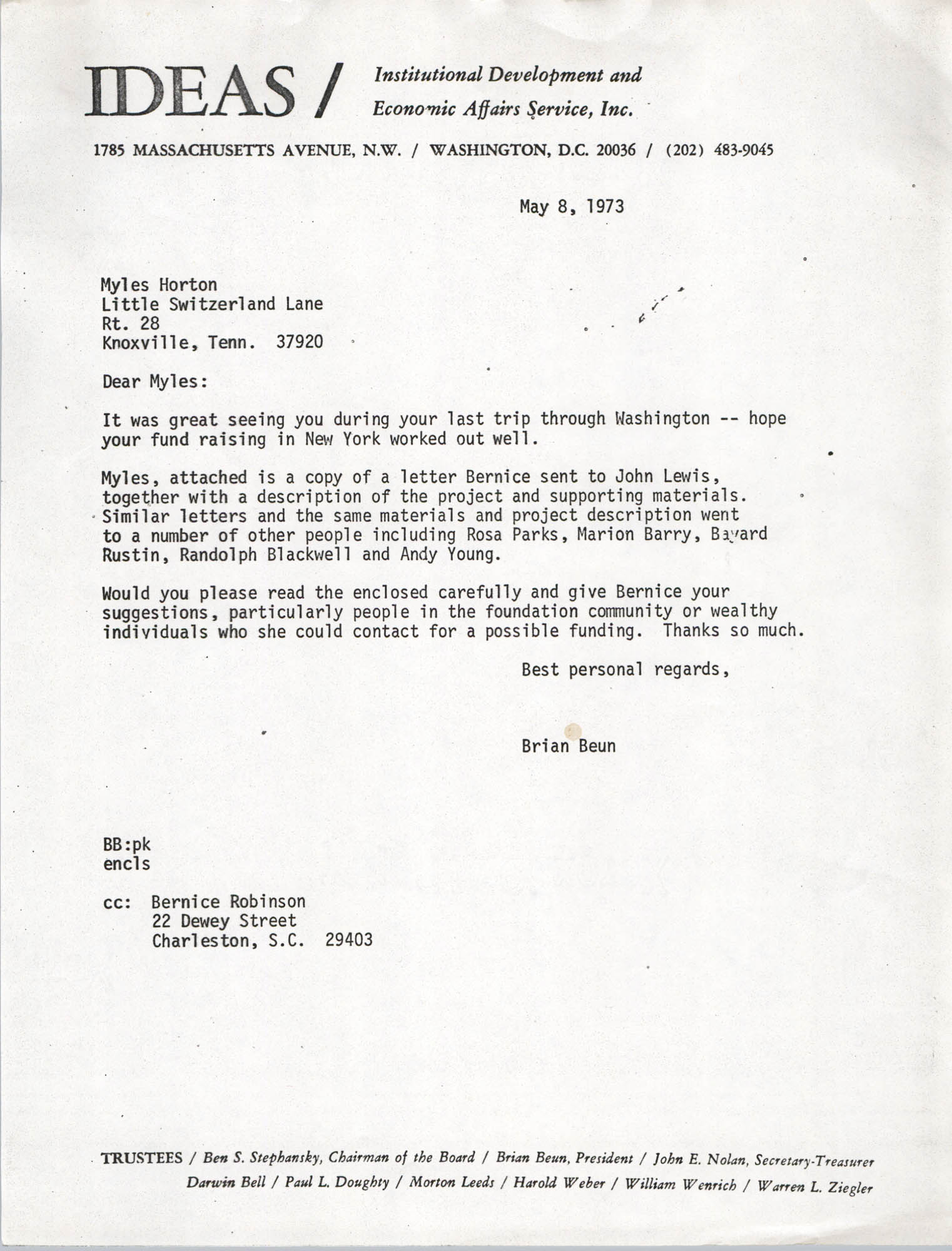 Letter from Bernice Robinson to Myles Horton, May 8, 1973