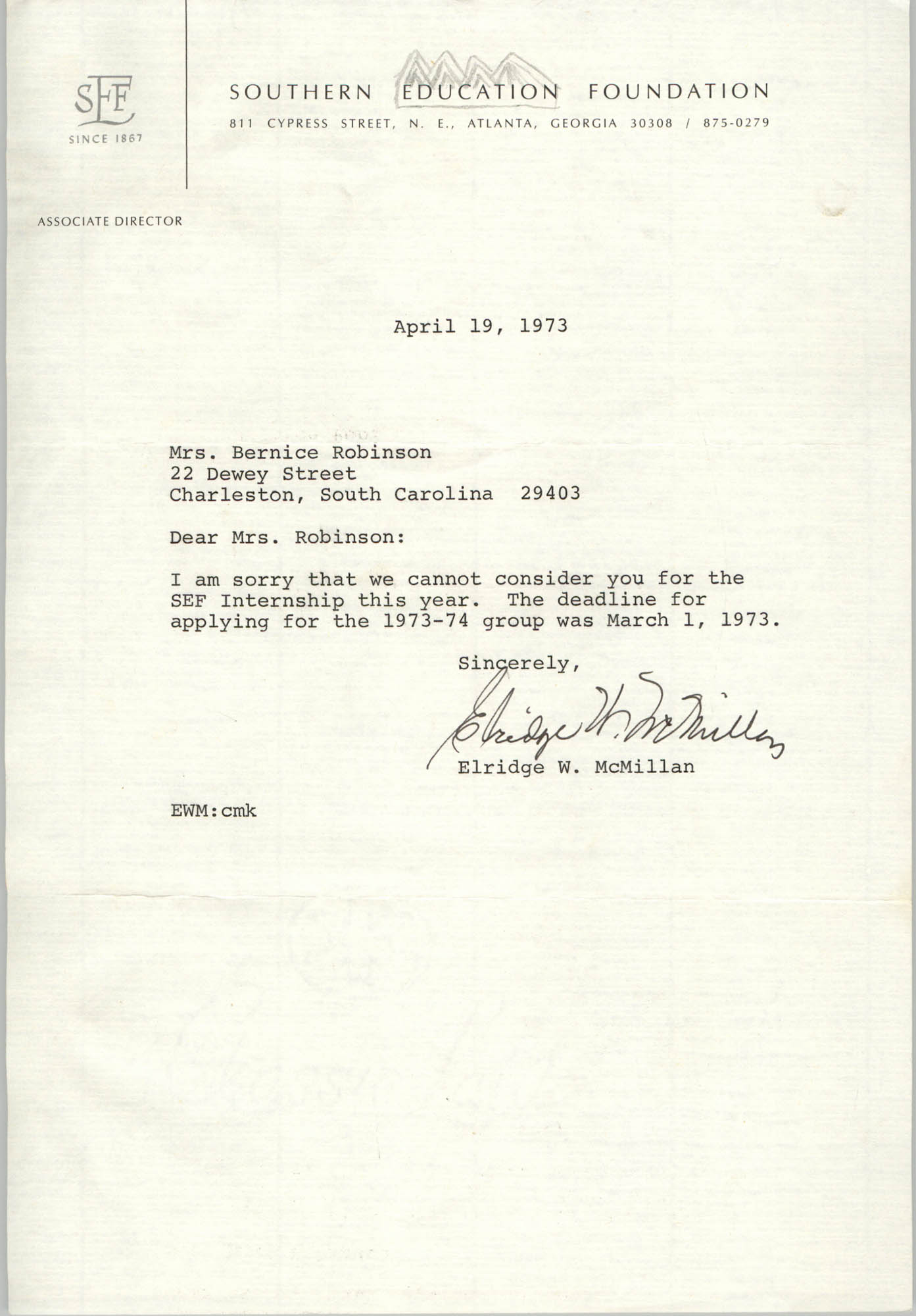 Letter from Elridge W. McMillan to Bernice Robinson, April 19, 1973