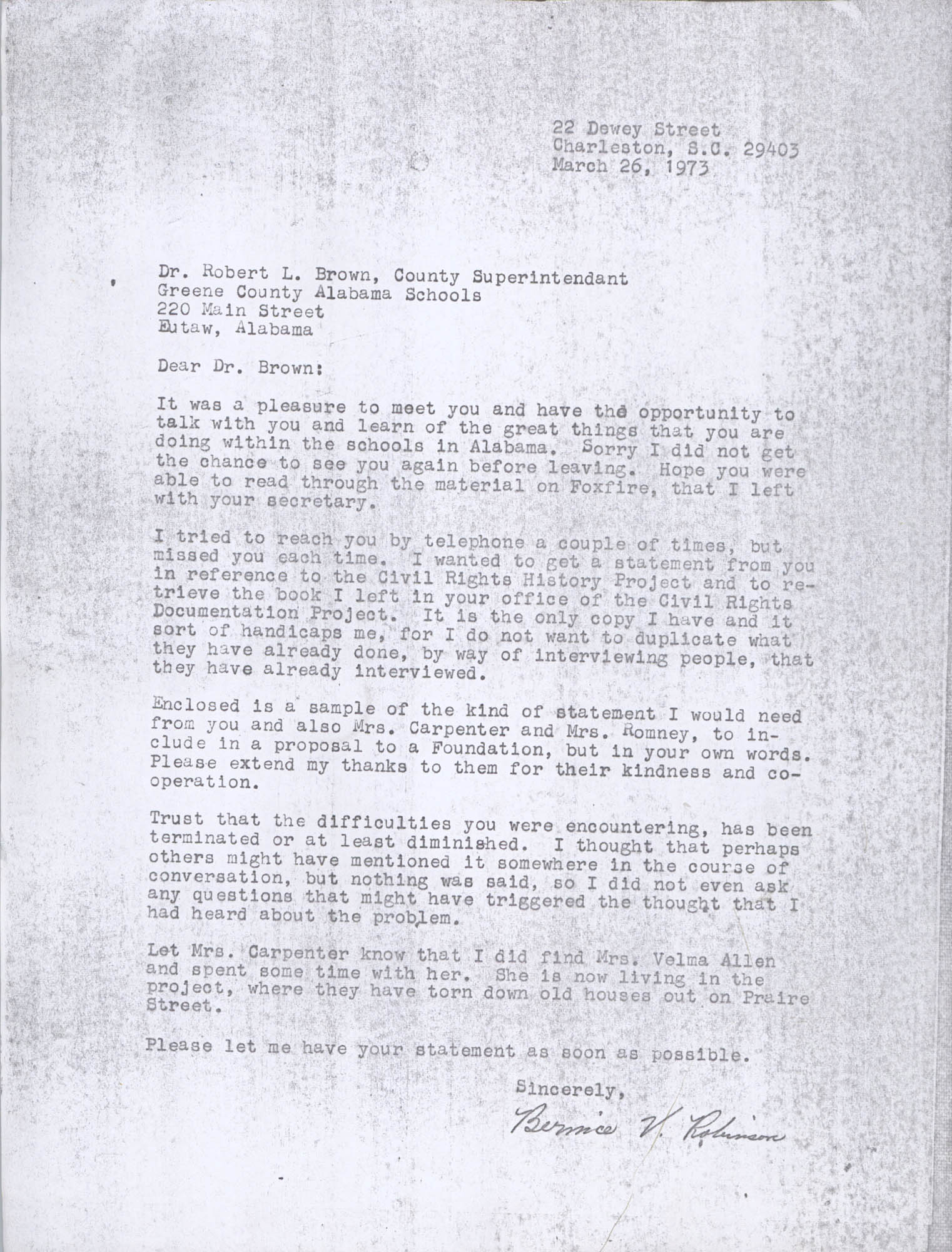 Letter from Bernice Robinson to Robert Brown, March 26, 1973