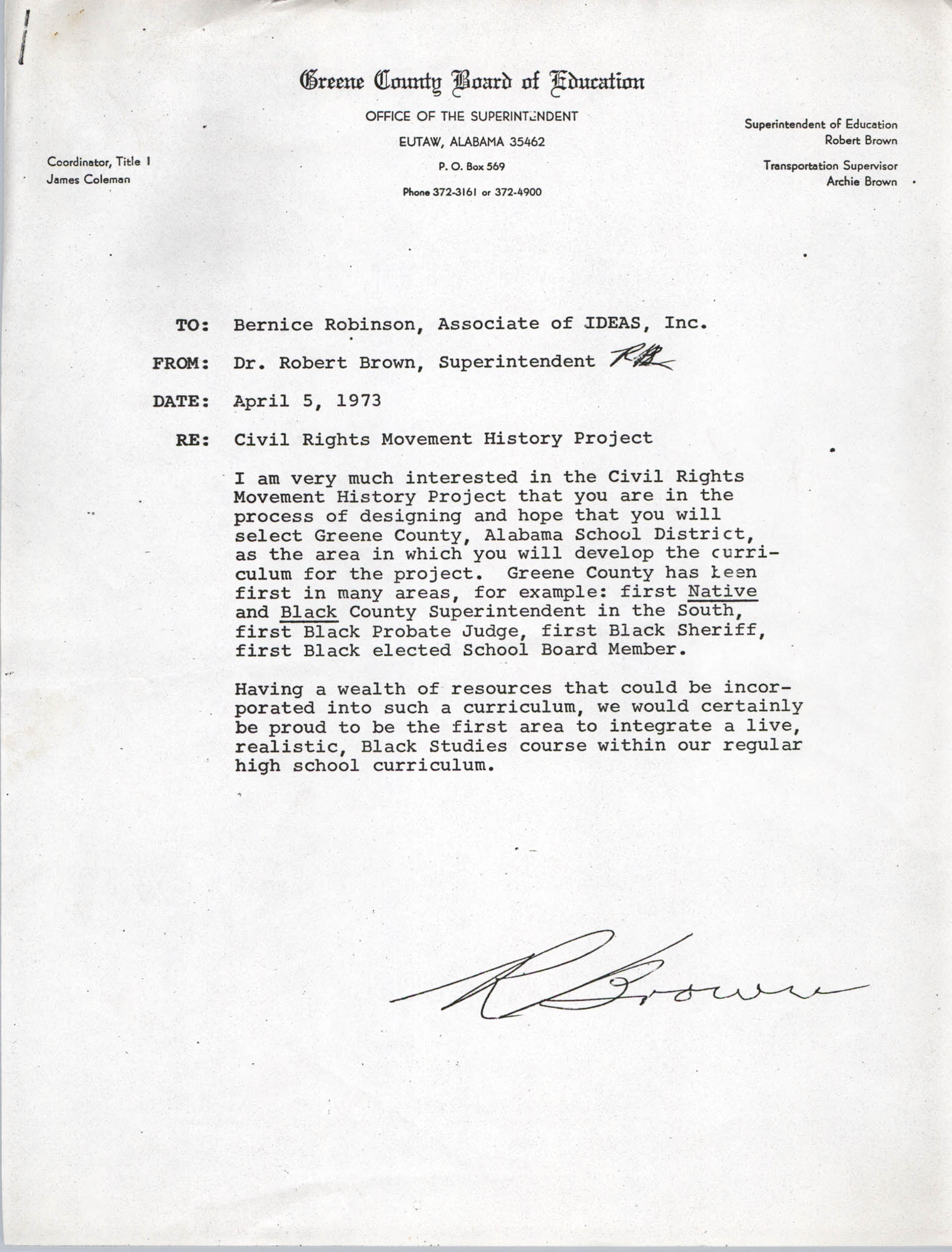 Letter from Robert Brown to Bernice Robinson, April 5, 1973